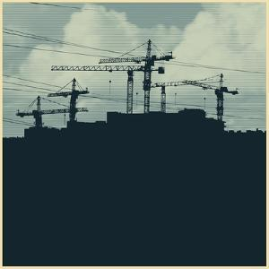 Silhouette with a Cranes and Constructions of a Modern High-Rise Buildings. Modern Urban Buildings. by jumpingsack
