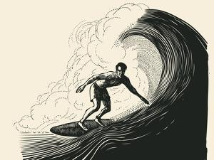 Surfer and Big Wave. Engraving Style. Vector Illustration. by jumpingsack