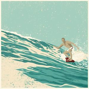 Surfer and Big Wave. Vector Illustration. Grunge Effect in Separate Layer. by jumpingsack