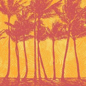 Tropical Coast with Palms. Vector Illustration. by jumpingsack