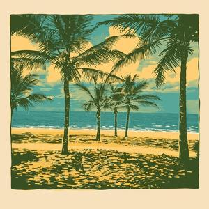 Tropical Idyllic Landscape with Palms Trees and Beach. Vector Illustration. by jumpingsack