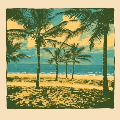 Tropical Idyllic Landscape with Palms Trees and Beach. Vector Illustration.
