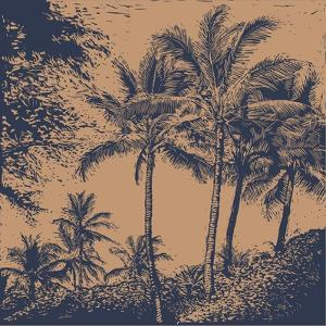 Tropical Landscape with Palms Trees. Linocut Style. Vector Illustration. by jumpingsack