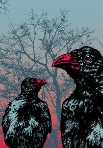 Vector Grunge Background Vith Ravens. by jumpingsack