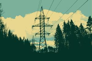 Vintage High-Voltage Tower in the Forest by jumpingsack