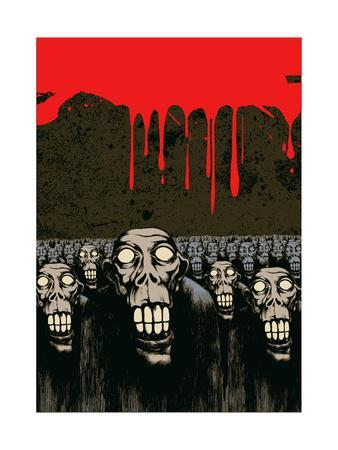 Zombies, Current Blood and Grunge Scratched Background. Vector Illustration.