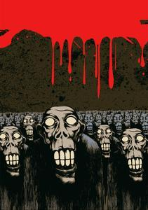 Zombies, Current Blood and Grunge Scratched Background. Vector Illustration. by jumpingsack