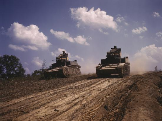 June 1942 - M3 Stuart Light Tanks at Fort Knox, Kentucky-Stocktrek Images-Photographic Print