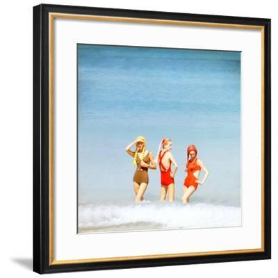 June 1956: Girls in Braided Wigs Modeling Beach Fashions in Cuba-Gordon Parks-Framed Photographic Print