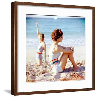 June 1956: Girls in Striped Swimsuit Modeling Beach Fashions in Cuba-Gordon Parks-Framed Premium Photographic Print