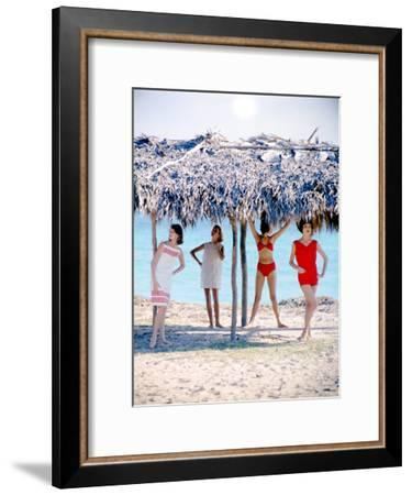 June 1956: Girls Modeling Beach Fashions in Cuba-Gordon Parks-Framed Premium Photographic Print