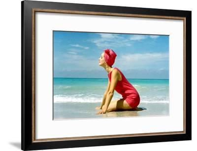 June 1956: Woman Modeling Beach Fashions in Cuba-Gordon Parks-Framed Premium Photographic Print