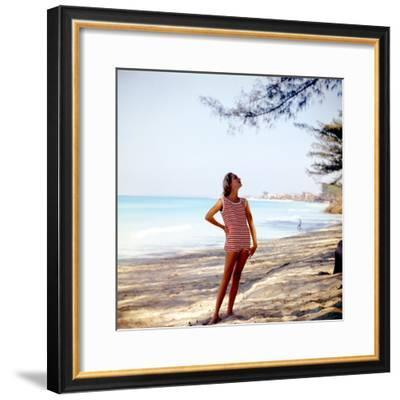 June 1956: Woman Modeling Beach Fashions in Cuba-Gordon Parks-Framed Premium Photographic Print
