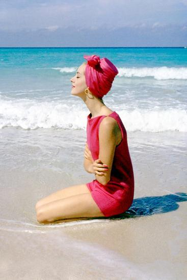 June 1956: Woman Modeling Beach Fashions in Cuba-Gordon Parks-Photographic Print