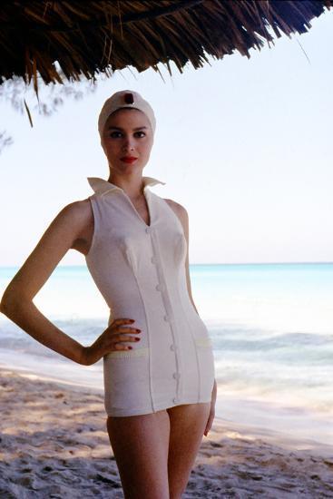 June 1956: Woman Modeling Beach Fashions in Cuba-Gordon Parks-Photographic Print