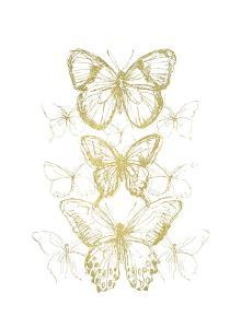 Gold Foil Butterfly Sketch I by June Vess