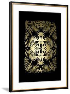 Gold Foil Tropical Kaleidoscope I on Black by June Vess