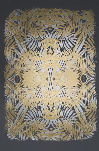Multi Foil Tropical Kaleidoscope I on Dark Grey by June Vess