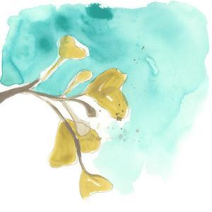 Teal and Ochre Ginko VIII by June Vess