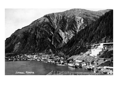 Juneau, Alaska - Aerial View of Town and Coast-Lantern Press-Art Print