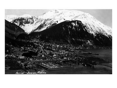 Juneau, Alaska - Aerial View of Town-Lantern Press-Art Print