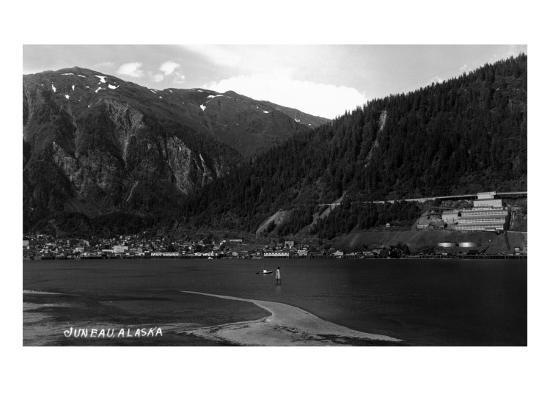 Juneau, Alaska - Panoramic View of Town from Water-Lantern Press-Art Print