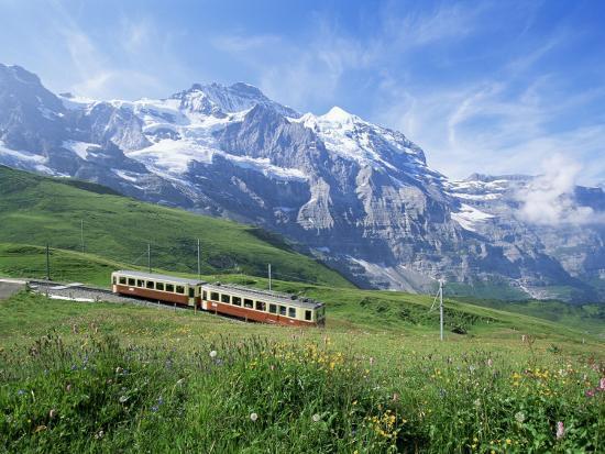 Jungfrau Railway and the Jungfrau, 13642 Ft., Bernese Oberland, Swiss Alps, Switzerland-Hans Peter Merten-Photographic Print
