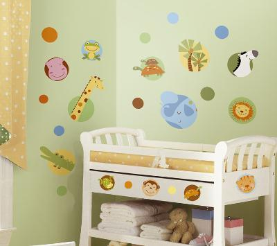 Jungle Animal Polka Dot Peel & Stick Wall Decal--Wall Decal