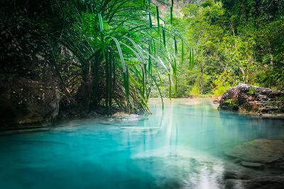Jungle Landscape with Flowing Turquoise Water of Erawan Cascade Waterfall at Deep Tropical Rain For-Perfect Lazybones-Photographic Print