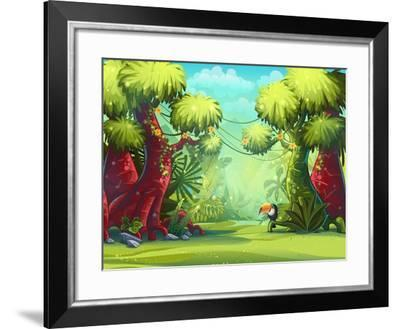 Jungle Vector Illustration Toucan, Trees and Flower. for Video and Web Design, Games, Print, Magazi- Nearbirds-Framed Art Print