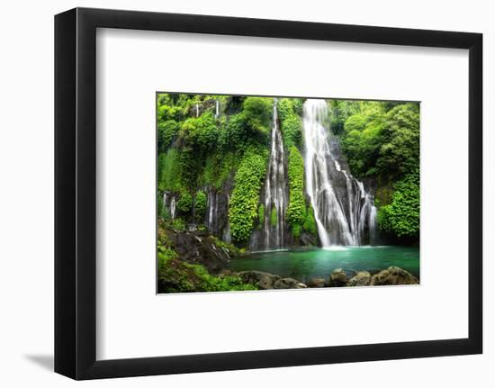 Jungle Waterfall Cascade in Tropical Rainforest with Rock and Turquoise Blue Pond. its Name Banyuma--Framed Photographic Print