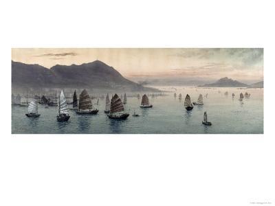 Junks in the Bay Before Victoria Peak-E. Kato-Giclee Print