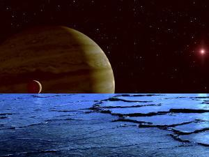 Jupiter and its Moon Lo as Seen from the Frozen Surface of Jupiter's Moon Europa