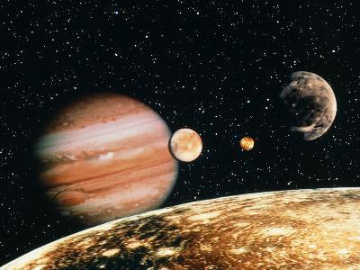Jupiter And the Galilean Moons Seen From Callisto-Science Photo Library-Photographic Print