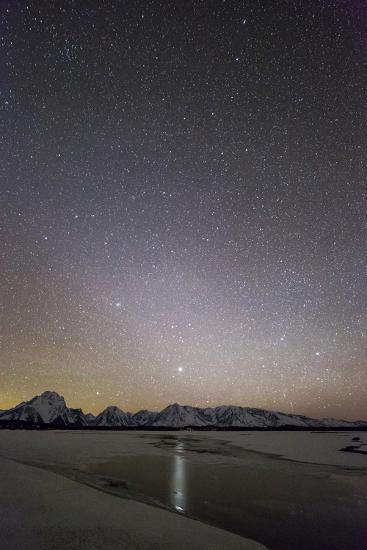 Jupiter Reflected In Jackson Lake Under A Star-Filled Sky, Grand Teton National Park, Wyoming-Mike Cavaroc-Photographic Print