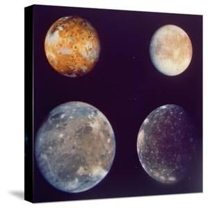 Jupiter's Satellites Io, Europa, Ganymede and Callisto as Depicted by Voyager 1 Spacecraft