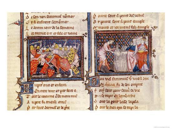 Jupiter Versus Saturn: Saturn Teaching the Lombards, Ovide Moralise Written Legouais--Giclee Print