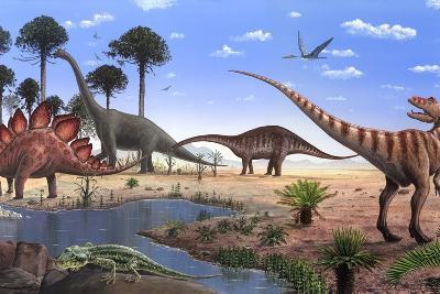 Jurassic Dinosaurs, Artwork-Richard Bizley-Photographic Print