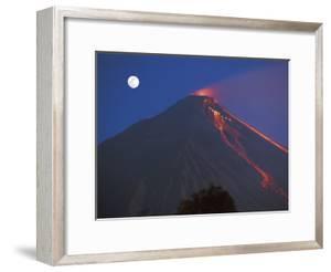 Siau Volcano Erupting with Moon Behind, N Sulawesi, Indonesia by Jurgen Freund