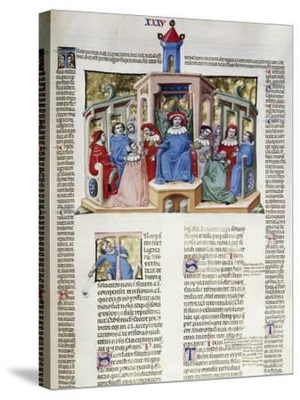 Jurist Delivering His Response from the Chair, Miniature from Corpus Juris Civilis--Stretched Canvas Print