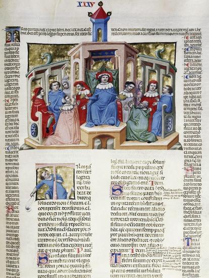 Jurist Delivering His Response from the Chair, Miniature from Corpus Juris Civilis--Giclee Print