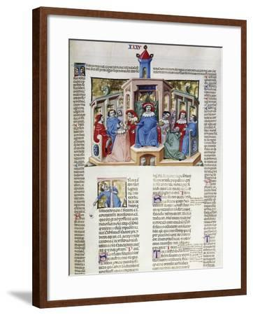 Jurist Delivering His Response from the Chair, Miniature from Corpus Juris Civilis--Framed Giclee Print