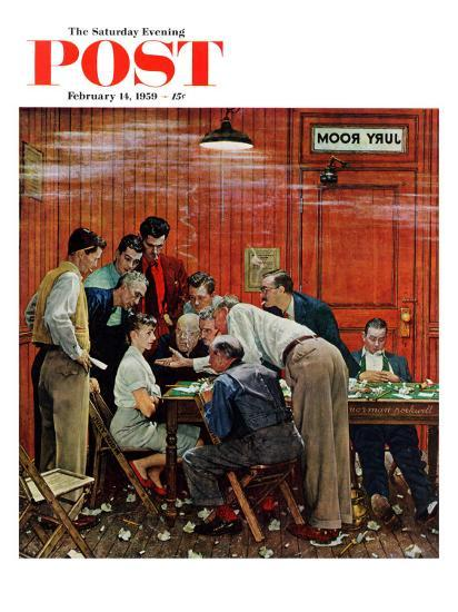 """Jury"" or ""Holdout"" Saturday Evening Post Cover, February 14,1959-Norman Rockwell-Premium Giclee Print"