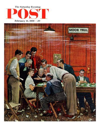 """""""Jury"""" or """"Holdout"""" Saturday Evening Post Cover, February 14,1959-Norman Rockwell-Giclee Print"""