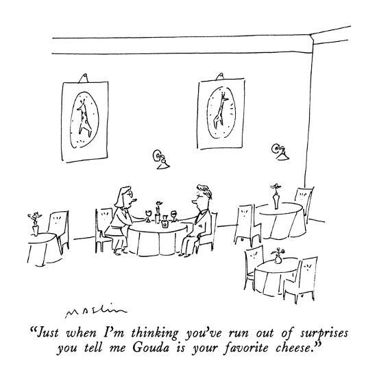 """""""Just when I'm thinking you've run out of surprises you tell me Gouda is y?"""" - New Yorker Cartoon-Michael Maslin-Premium Giclee Print"""