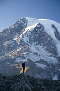 Man Hiking in Mt. Rainier National Park, Washington by Justin Bailie