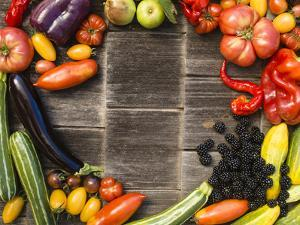 Still Life Of Summer Vegetables And Fruit by Justin Bailie