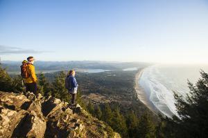 Two People Hiking On Neahkahnie Mountain Near Manzanita, Oregon by Justin Bailie