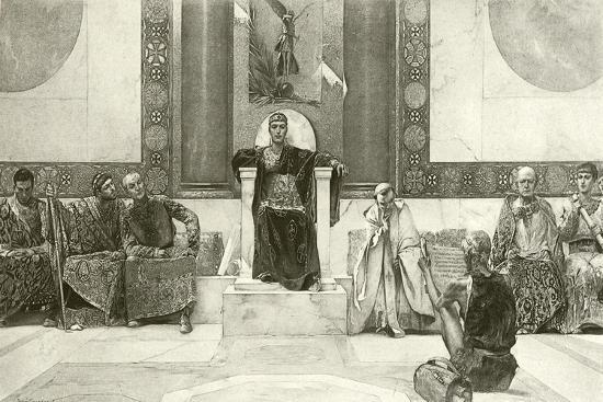 Justinian and His Council-English School-Giclee Print