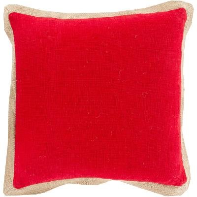 Jute Flange Pillow Poly Fill - Poppy/Mocha--Home Accessories